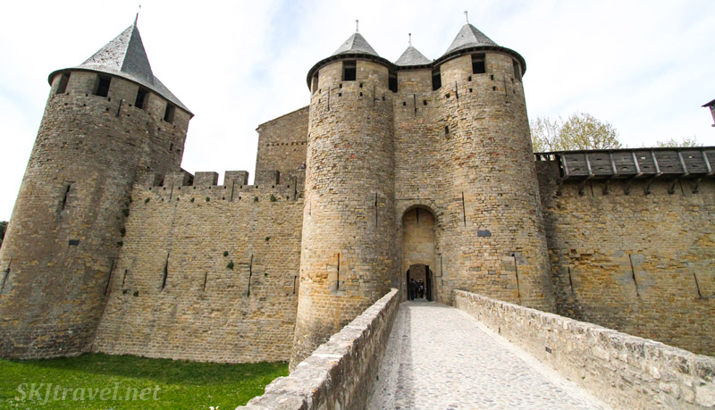 Entering the fortress of Carcassonne, France.