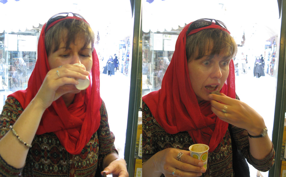 Left side, me shooting the espresso; right side, me anxious to eat the chocolate chaser. Isfahan, Iran.