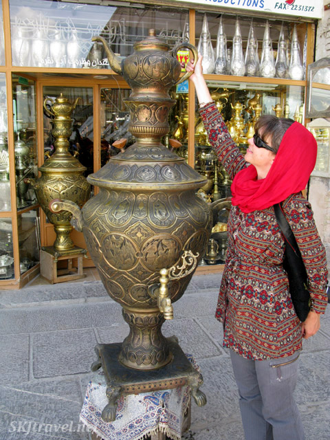 Giant tea pot outside of the bazaar in Isfahan, Iran.