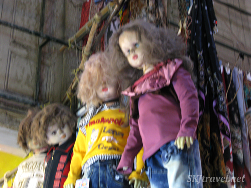 Child mannequins with crazy hair in the bazaar in Isfahan, Iran.