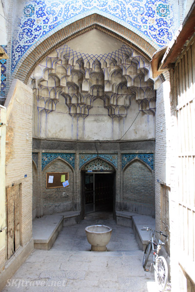 Side chamber along a corridor inside the bazaar in Isfahan, Iran.