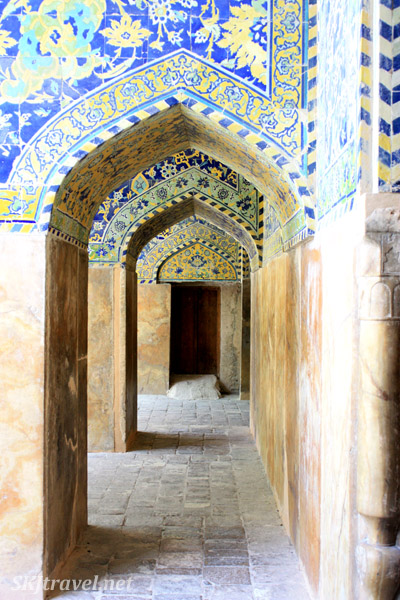 Corridor inside the Imam Mosque, Isfahan, Iran.