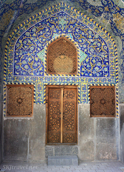 Small doors in a side courtyard at Imam Mosque, Isfahan, Iran.