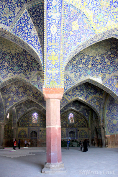 Blue and yellow tile work inside the Imam Mosque, Isfahan, Iran.