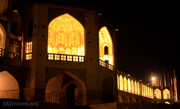 Bridge over the dry riverbed of the Zayandehrood at night, Isfahan, Iran.