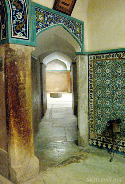 Inside the ancient bathhouse inside the bazaar in Kerman, Iran.