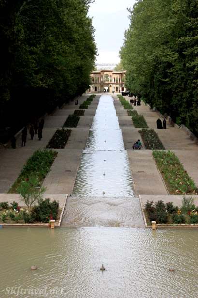 A long stretch of cascading water at the Shahzadeh garden outside Kerman, Iran.
