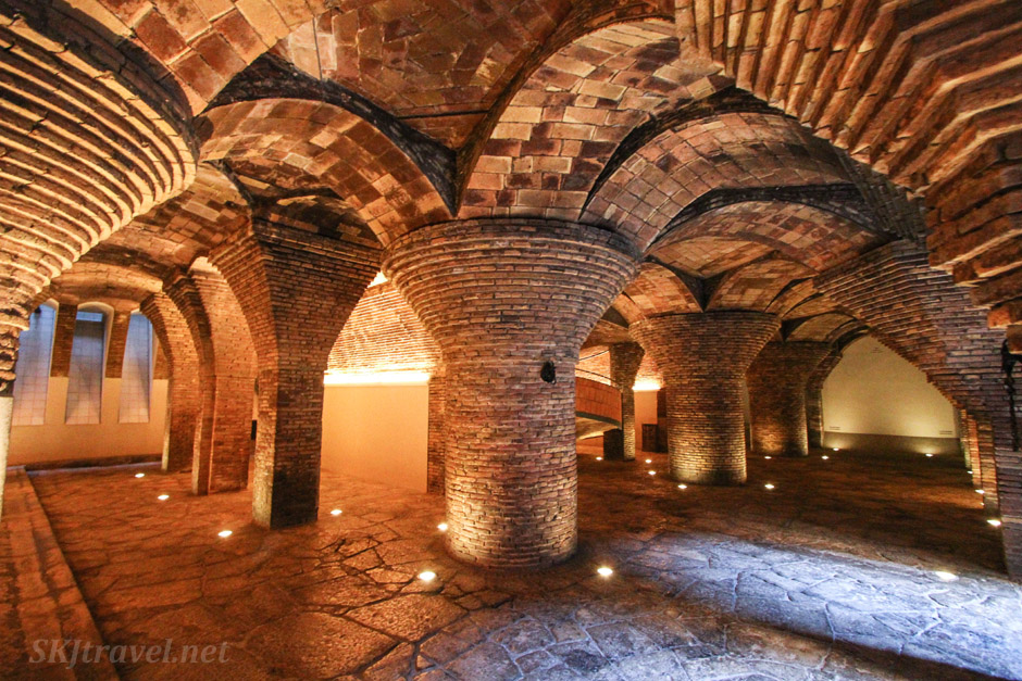 Underground stables at Palau Guell, Barcelona, Spain.