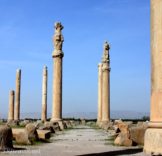 Tall stone columns remaining at Persepolis, Iran.