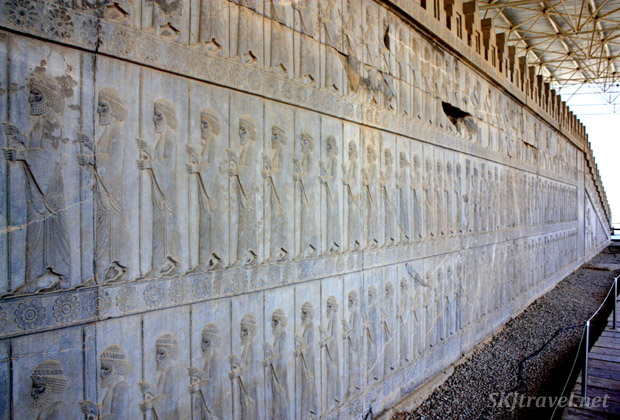 Bas relief figures along a stone staircase in Persepolis, Iran.
