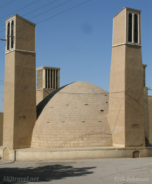 Wind towers, or wind catchers, on the rooftops in Yazd, Iran.
