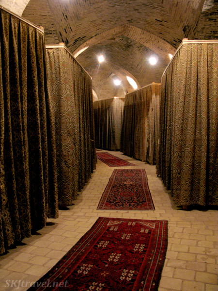 Sleeping quarters in an old caravansary turned into a hotel and tea house along the road between Kerman and Yazd, Iran.