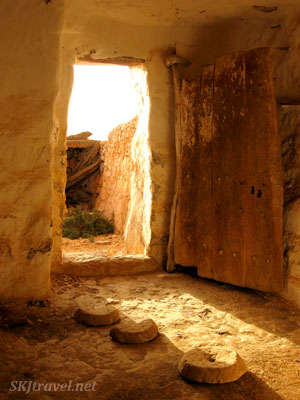 Looking out a door from inside a ksar in Guermessa Tunisia. photo by Shara Johnson