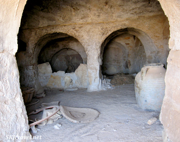 Inside of abandoned Berber ksar. Tunisia.