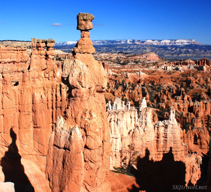 Large hoodoo formation in foreground at Bryce Canyon.