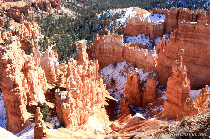 Looking down from the rim of the Bryce amphitheater into the valley.