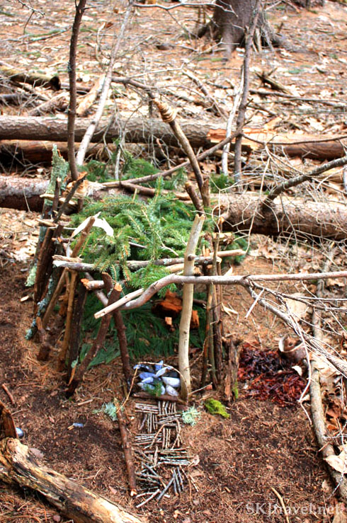 Small structure of sticks and pine needles called a fairy house, Maine. Photo by Shara Johnson