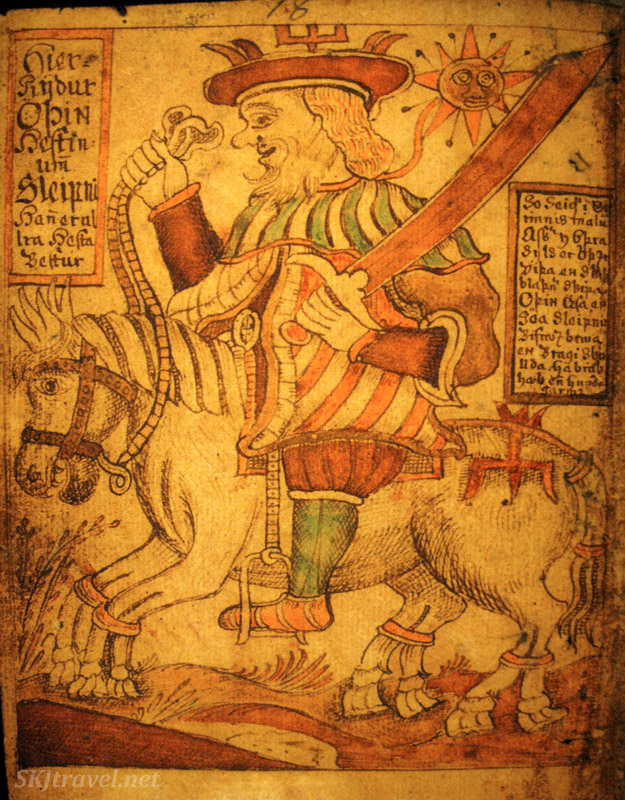 Seems like a man of nobility riding a gallant horse. Page from a medieval Icelandic saga manuscript, in the Culture House, Reykjavik, Iceland.