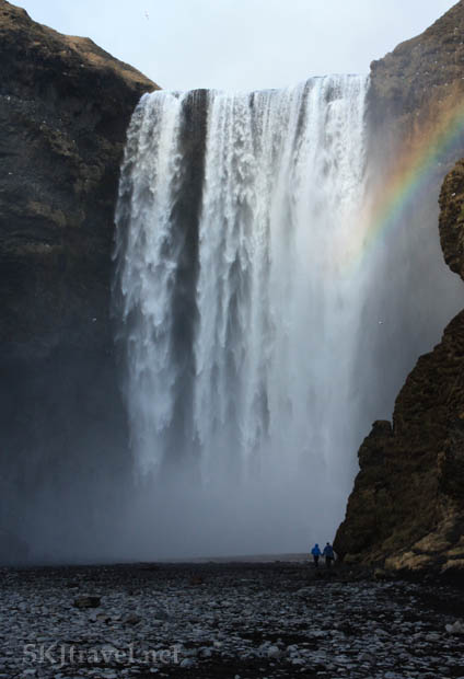 See the people at the bottom for some perspective on the height of Skogafoss. Iceland.