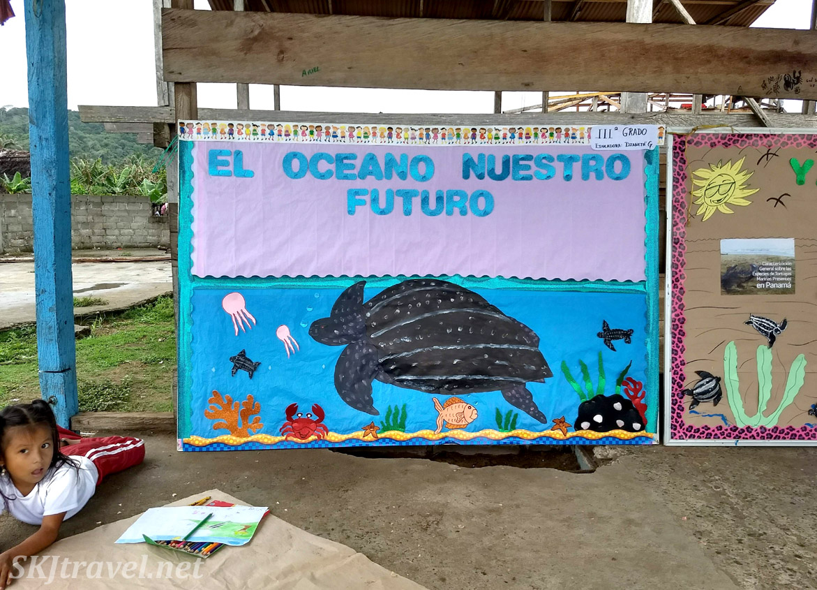 Mural created by school children about protecting sea turtles, tortuga, at the turtle festival in Guna Yala village of Armila, Panama. May 2019.