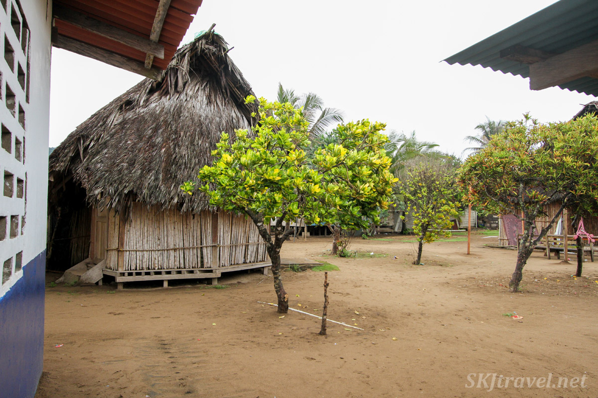 Open space between family courtyards in the village, Armila, Guna Yala, Panama.