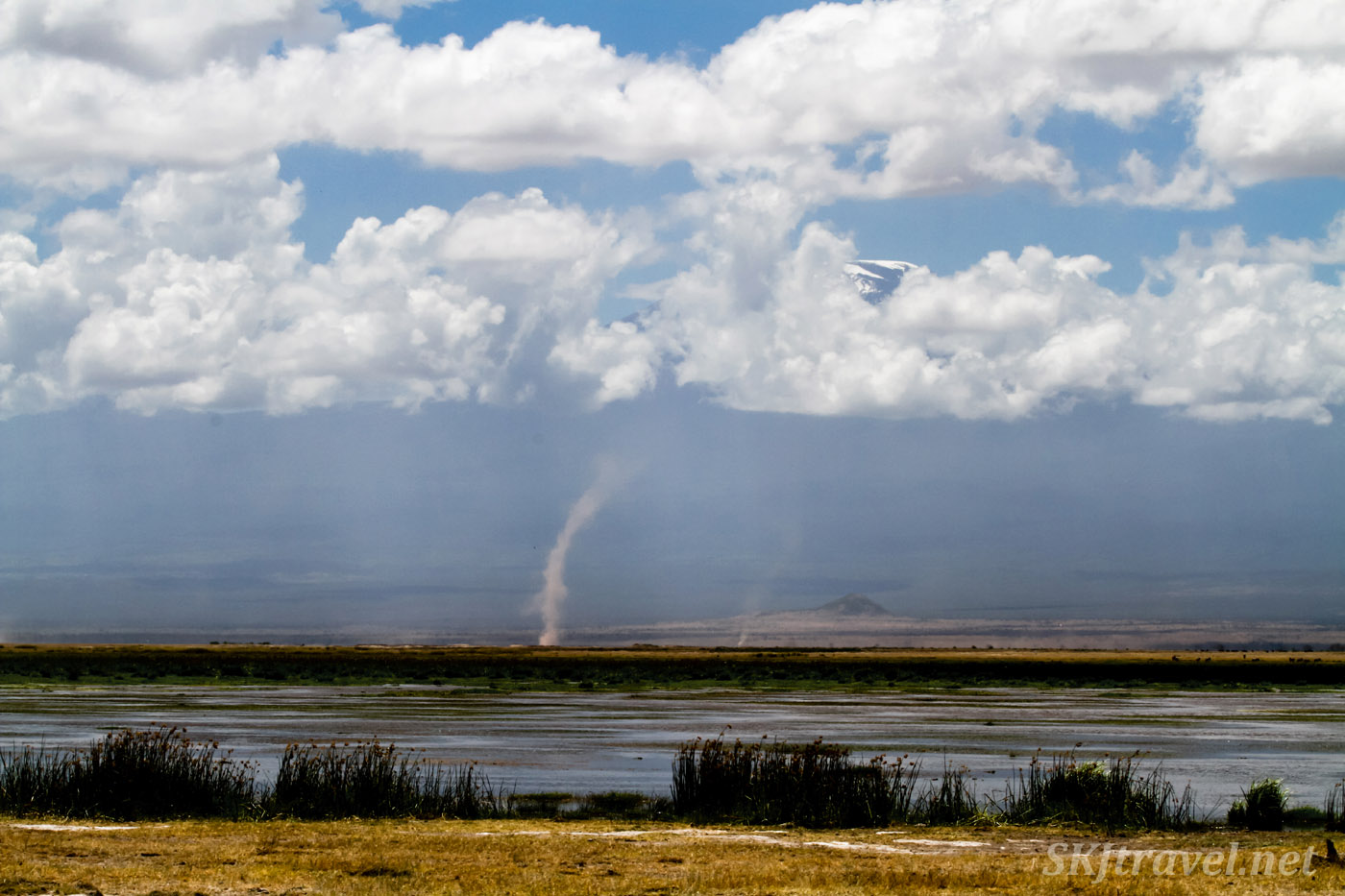 Dust devil on the plains of Amboseli National Park, Kenya.