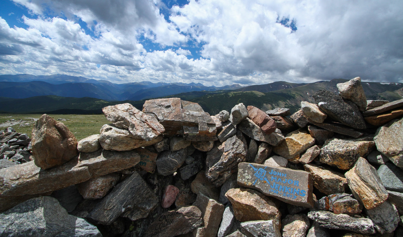 Memorial rock for John Major Jenkins at the Rock House at the top of Kingston Pass at Loch Lomond Overlook, Colorado 4x4 trail.