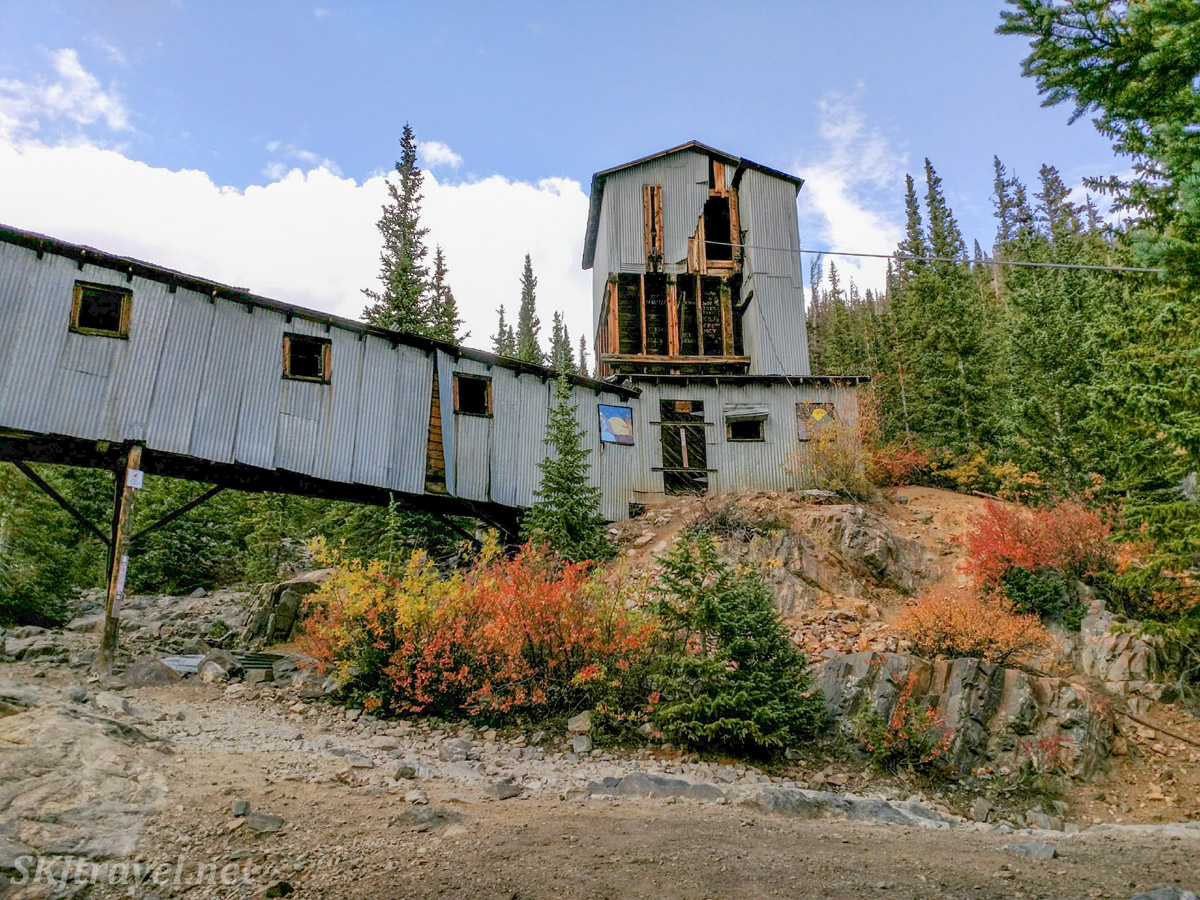 Old abandoned Magnolia Mill above Montgomery Reservoir, near Breckenridge, Colorado, in autumn.