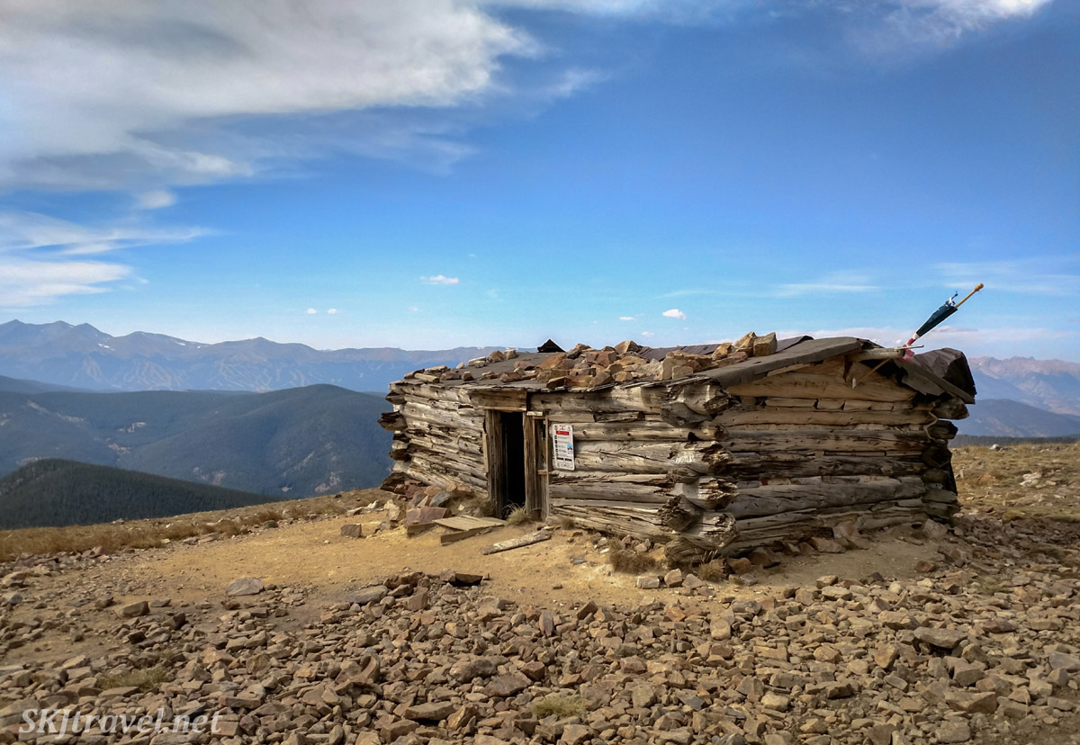 Wise Mountain Cabin on a silver mining claim, 4x4 route, Summit County, Colorado.