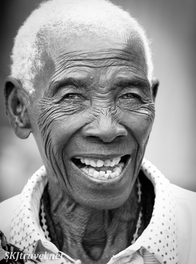 Granny Sabina, accused of being a witch, Kavango region, Namibia. Black and white photography, portraiture.