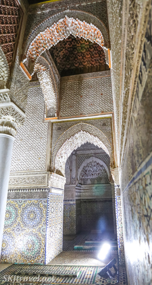 Mausoleum of Ahmed al-Mansur, Chamber of twelve columns, Saadian tombs, Marrakech, Morocco. Featuring Moroccan carved stucco.