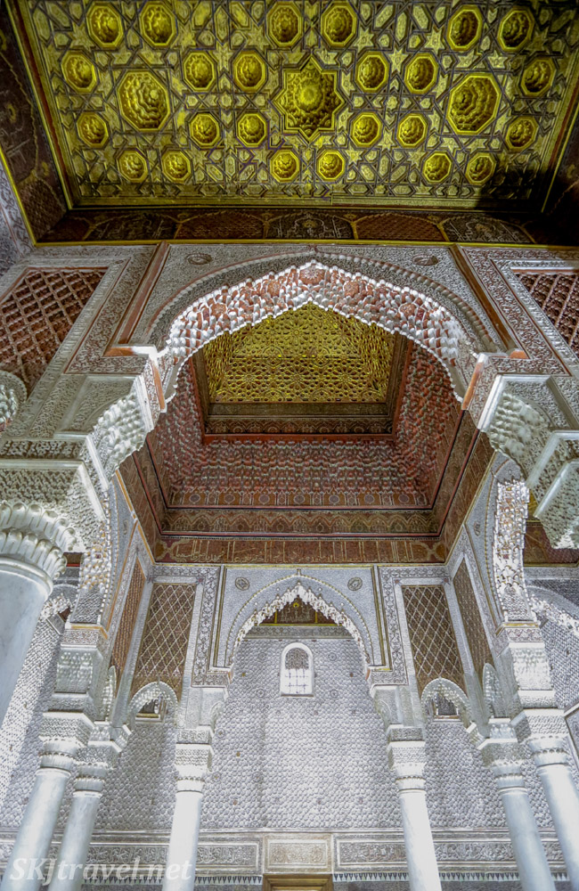 Gold painted ceiling in the Chamber of Twelve Columns, Saadian Tombs, Marrakech, Morocco. Featuring Moroccan carved stucco.