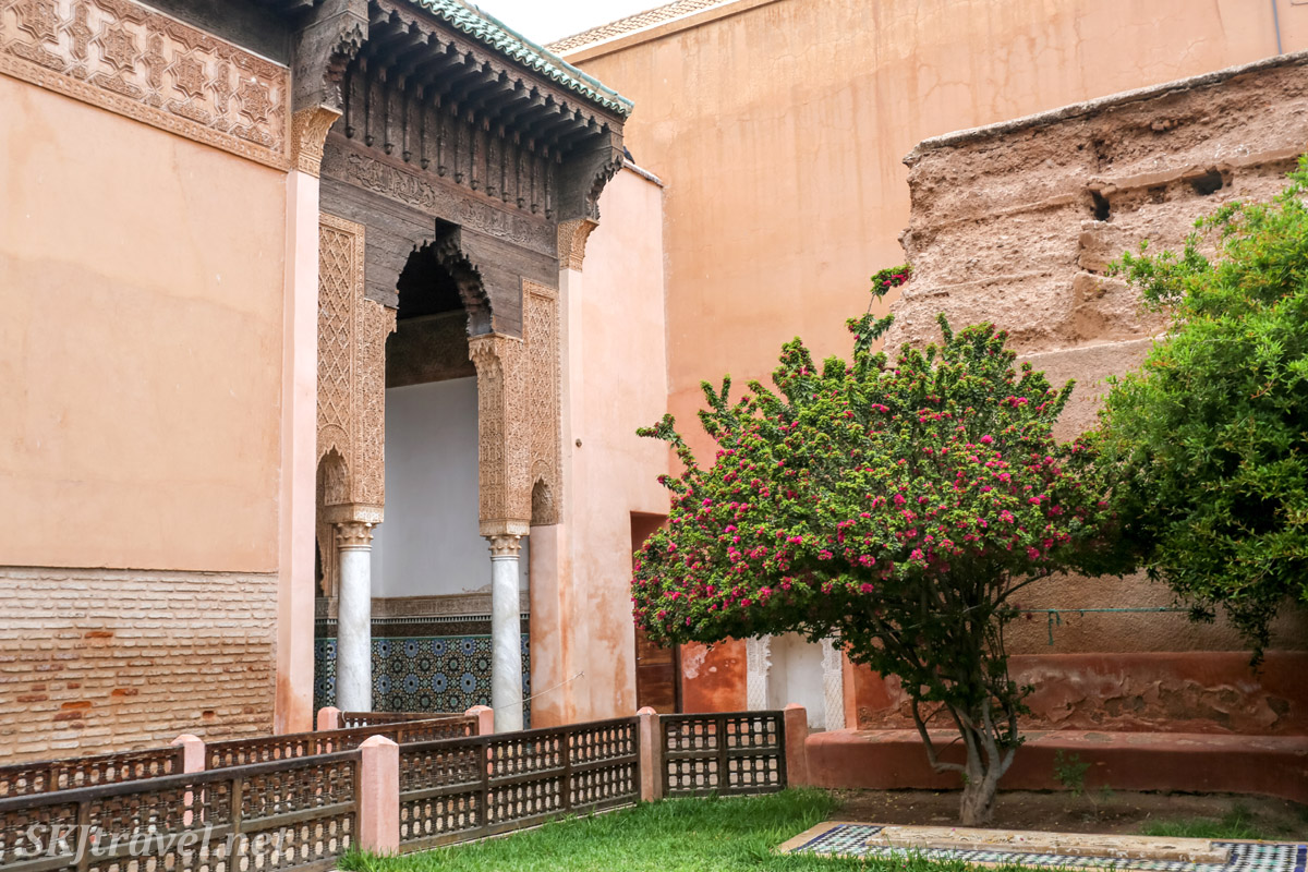Courtyard of Saadian Tombs, Marrakech, Morocco.