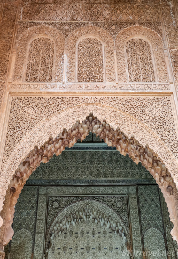 Chamber of Lalla Mas'uda, Saadian Tombs, Marrakech, Morocco. Featuring Moroccan carved stucco.