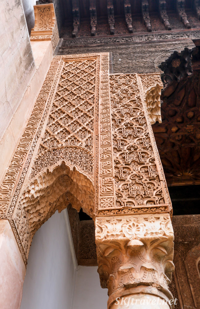 Fine detail in mausoleum columns, Saadian Tombs, Marrakech, Morocco. Featuring Moroccan carved stucco.