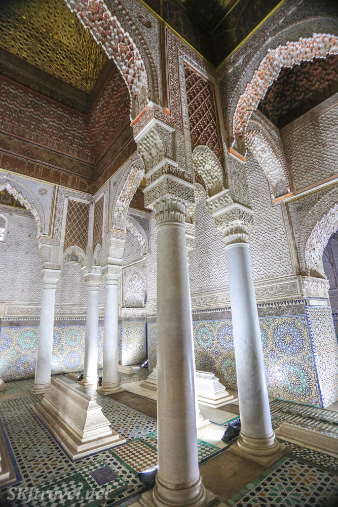 Mausoleum of Ahmed al-Mansur, Chamber of twelve columns, Saadian tombs, Marrakech, Morocco.
