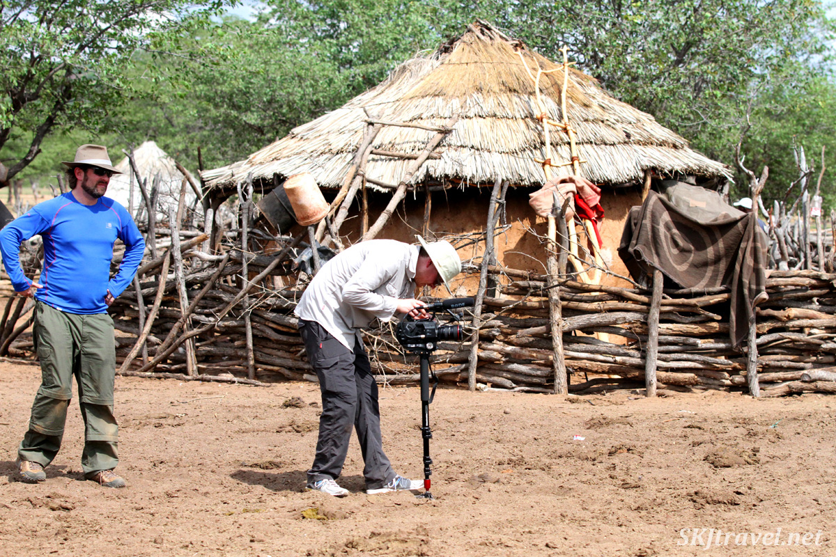 Filming for The African Witchfinder in a Himba village in the Kunene region of Kaokoland, Namibia.