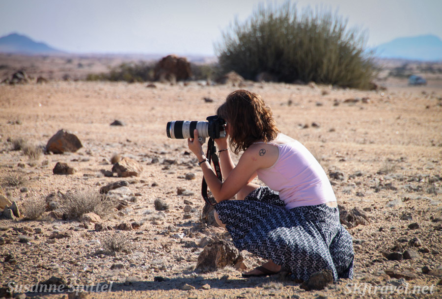 Me photographing in the Namib Desert with the film crew of The African Witchfinder.