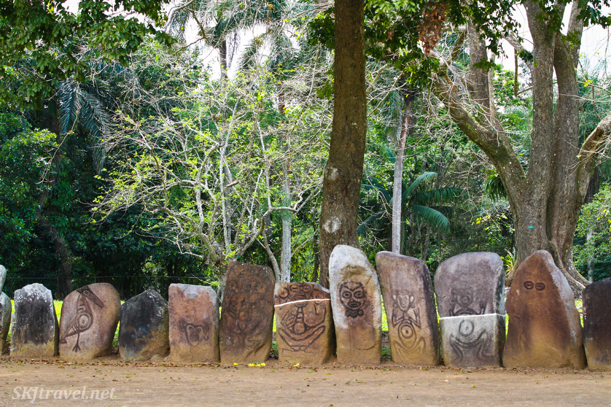 Petroglyphs surrounding the ceremonial Taino ball court at Caguana, Puerto Rico.