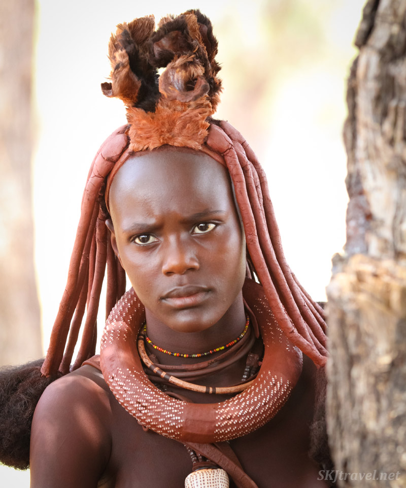 Head piece of a newly married traditional Himba woman. Kunene region, Kaokoland, Namibia.