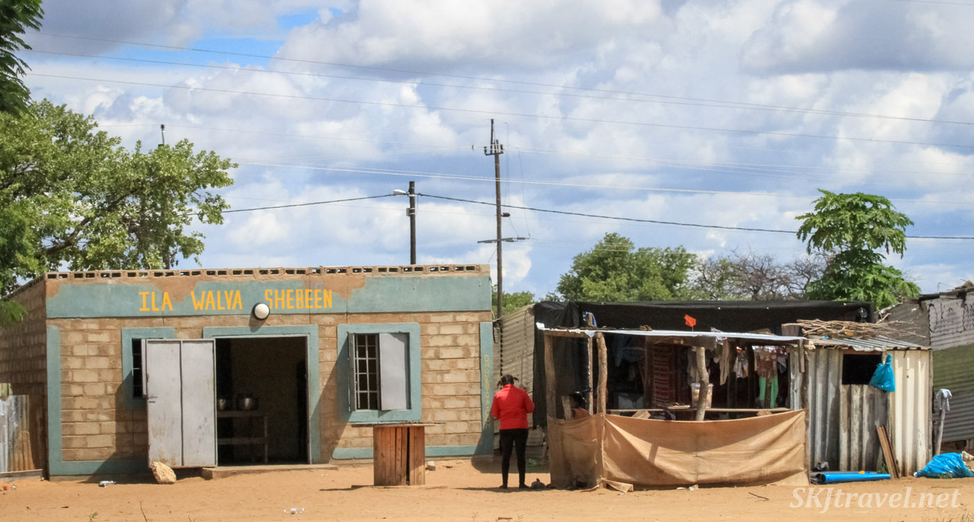 Shebeen along the paved road in northern Namibia.