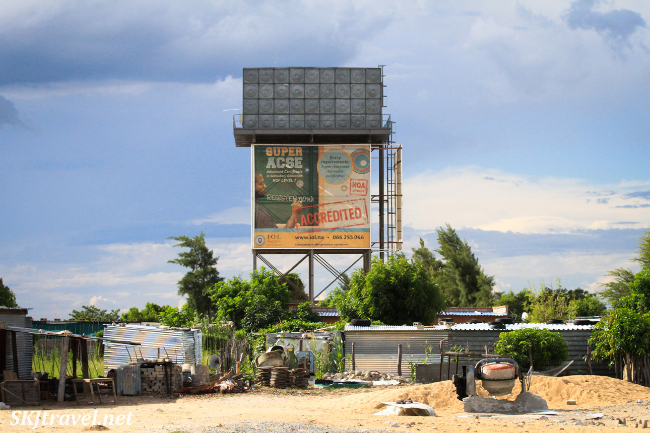 Billboard at the outskirts of a town in northern Namibia.