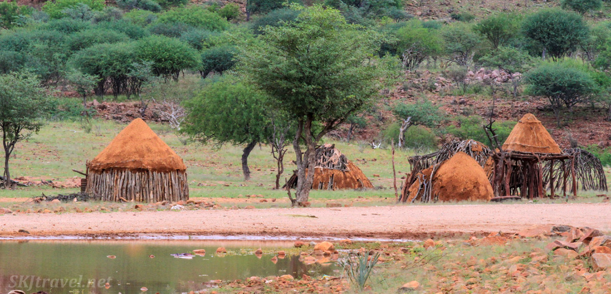 Himba homes on the roadside, Kaokoland, northern Namibia.