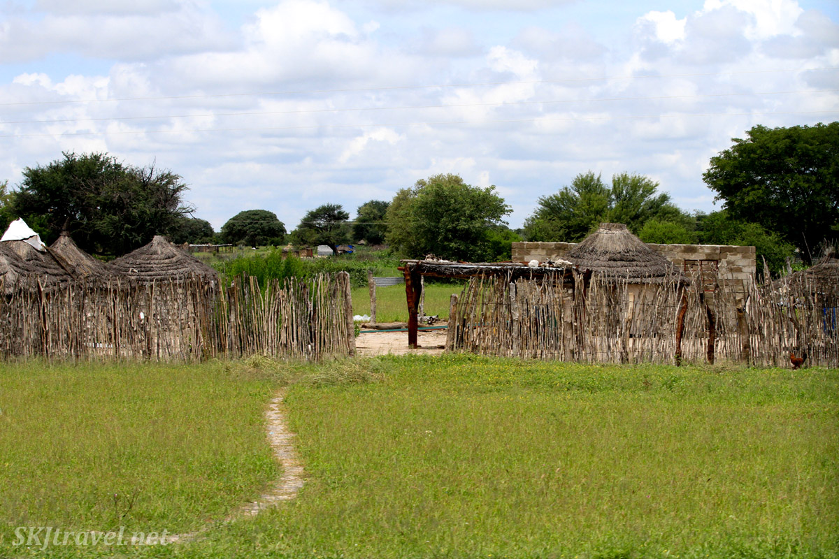 Stick fence around a family compound, northern Namibia.