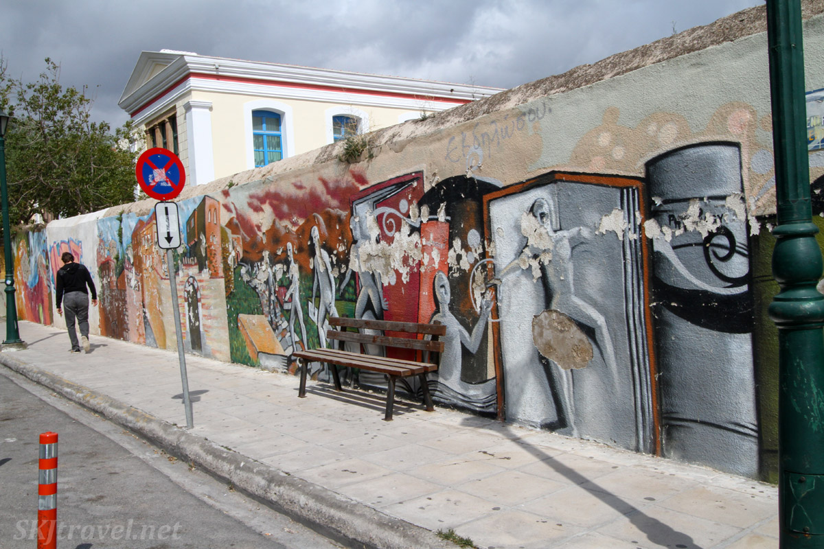 Street art near the center of Chios Town, Chios Island, Greece.