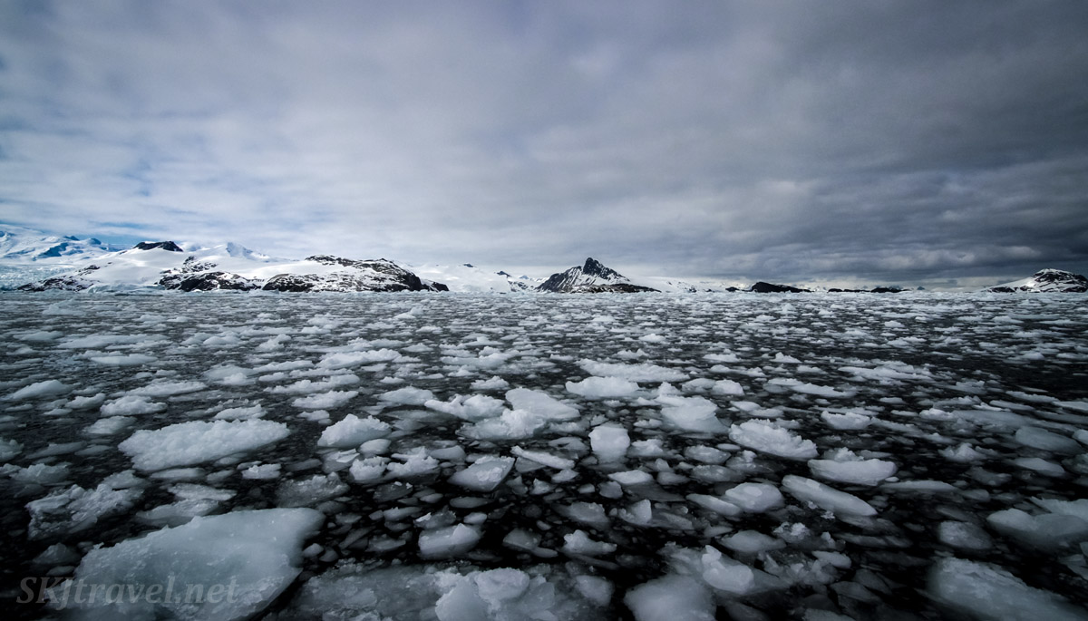 Chunky ice bits -- ice slush -- in the black waters of the Southern Ocean. Antarctica.