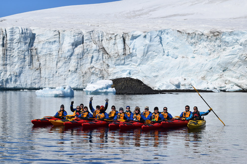 Kayaking Club of the Sea Spirit Antarctic expedition cruise.