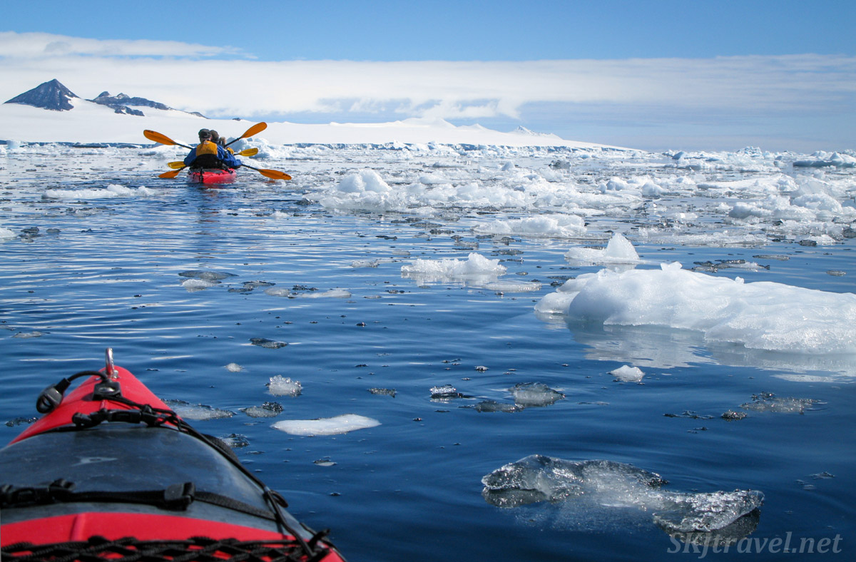 Paddling in the waters around Brown Bluff in the Antarctic Sound.