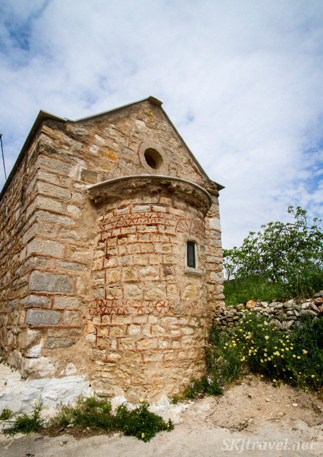 Exterior of the Church of Ayioi Apostoloi ,Holy Apostles, medieval mastic village of Pyrgi, Chios Island, Greece.
