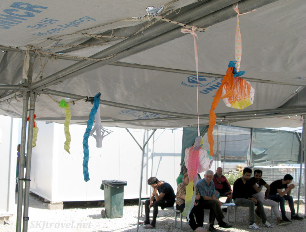 Decorations made during activities time in Souda refugee camp, Chios Island, Greece.